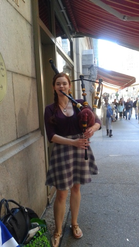 Lady Bagpiper at Grand Central
