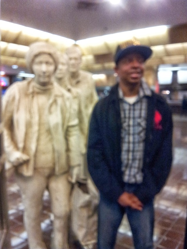 Stephen next to the Commuters at Port Authority