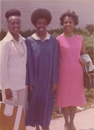Me in the middle flanked by Aunt Thelma and Aunt Helen H.S. Graduation 1977
